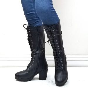 Shoes - New Black Combat Lace Up Mid-Calf High Heel Boots